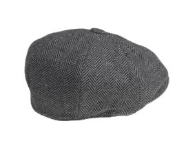 PEAKY BLINDERS NEWSBOY CAP. HERRINGBONE GRIJS