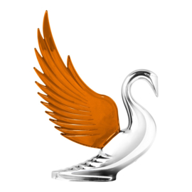 SWAN HOOD ORNAMENT. WITH AMBER WINGS