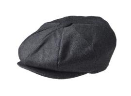 PEAKY BLINDERS NEWSBOY CAP. PINSTRIPE ZWART
