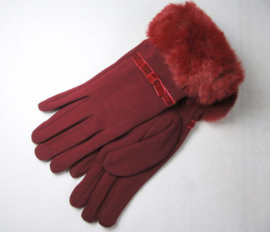 GLOVES VELVET LOOK RED WITH FUR TRIM