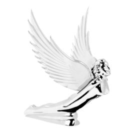 FLYING GODDESS  MOTORKAP ORNAMENT. MET TRANSPARANTE VLEUGELS