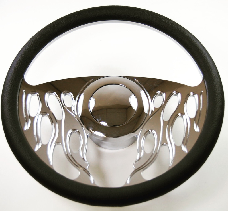 CUSTOM BILLET STEERING WHEEL FLAMED. TOP COVERED WITH BLACK LEATHER