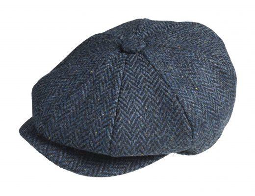 PEAKY BLINDERS NEWSBOY CAP. HERRINGBONE BLAUW
