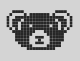 Beren gezicht vierkantjes