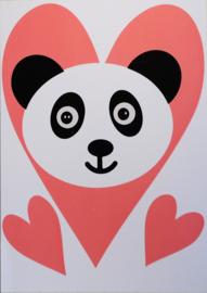 Panda met roze hartjes
