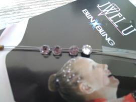 Haar juweeltjes/kristallen in de kleur helder kristal  rond
