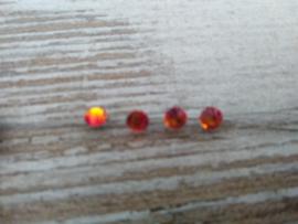 Haar juweeltjes/kristallen in de kleur warm oranje rond