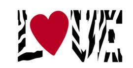 Love met hartjes  in zebra print