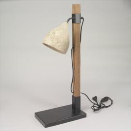 Tafellamp zwart / hout / beton
