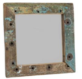 Oud houten spiegel 32x32 cm