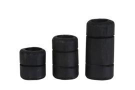 Set van 3 zwarte kandelaren