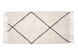 Katoenen tapijt wit met zwarte strepen