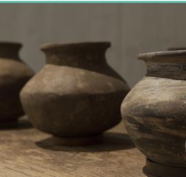 Stenen potje uit India bruine tinten