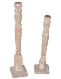 Unieke houten dinerkandelaar