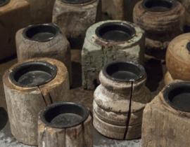 Rustiek houten theelichthouder