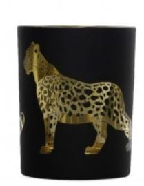 Theelichthouder zwart / goud 7 x 8 cm