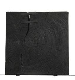 Wandblok zwart acaciahout en ijzer