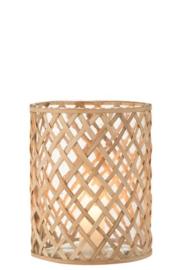 Windlicht gevlochten bamboe met glas M