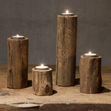 Set van 4 houten kandelaren