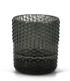 Theelichthouder - zwart (donkergrijs) 6.5 x 6.5 x 7.5 cm
