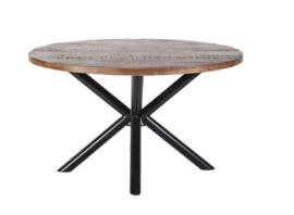 Ronde houten eettafel met kruispoot 150 cm