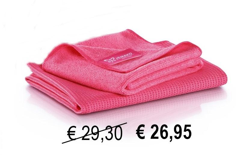 Jemako set Raamdoeken Pink, gratis 2 servethouders