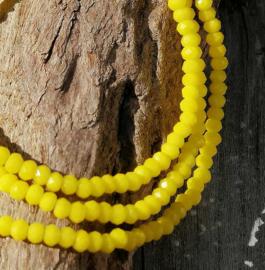Kristal rondel  facet geslepen 2 x 3 mm, geel