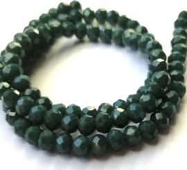 Kristal rondel  facet geslepen 4 x 6 mm, groen