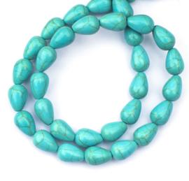 Turquoise druppel kralen 12 x 8 mm