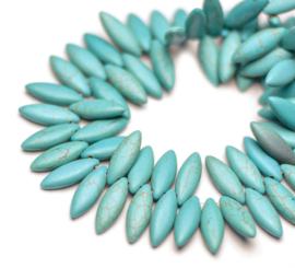 Turquoise platte druppel kralen 21,5 x 7,5 x 4,5 mm