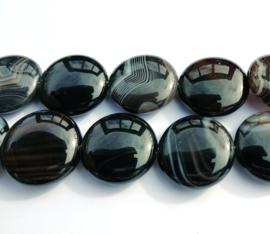 Agaat disc zwart-wit 20 x 7 mm