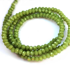 Kristal rondel  facet geslepen 2 x 3 mm, groen mat
