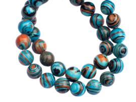 Kleurrijke synthetische Blauw-Bruin-Zwart Malachiet kralen (8 mm) 48 st.