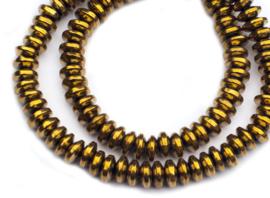 Hematiet rondel goudkleur 2,5 x 6 mm