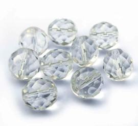 Tsjechische glas facetkralen wit doorzichtig (12 mm)
