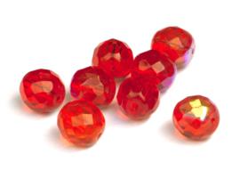 Facetkralen licht rood glanzend  AB 12 mm,  9 st.