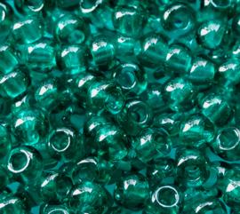 Tsjechische PRECIOSA rocailles 09/0 2.4 - 2.8 mm 50710 donker groen doorzichtig ca. 25 g.