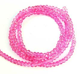 Kristal rondel  facet geslepen 2 x 3 mm, roze doorzichtig