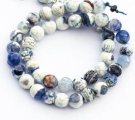 Agaat blauw - wit (8 mm)