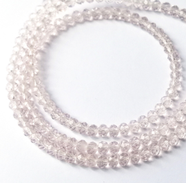 Kristal rondel  facet geslepen 3 x 4 mm licht roze