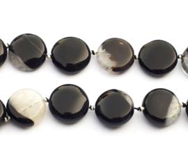 Agaat disc zwart-wit 18 x 6 mm