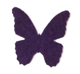 32 x 32 mm vilten vlinder donker paars 1 st.