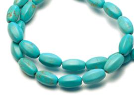 Turquoise zeshoekige kralen 14 x 8 mm