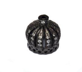 14 mm x 13 mm zwart  kralenkapje met zirkonia 1 st.