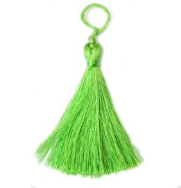 Stoffen kwastje lime groen, lengte ca 70 mm, 1 st.