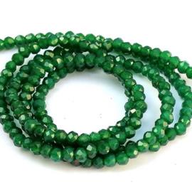 Kristal rondel  facet geslepen 2 x 3 mm, donker groen