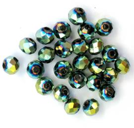 Kristal rondel  facet geslepen 3 x 4 mm, kleurrijk glanzend