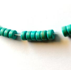 Turquoise platte ronde kralen 3 x 6 mm