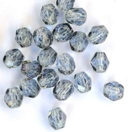 Tsjechische glas facetkralen grijs  (4 mm)