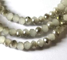 Kristal rondel  facet geslepen 3 x 4 mm, wit-grijs